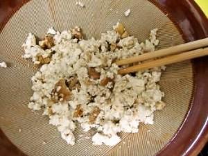 柿の白和え・豆腐を加える