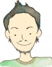 代表は菊池さんの似顔絵