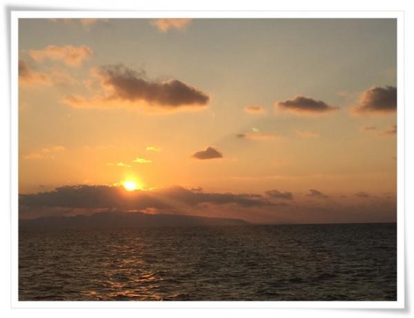 カヤックで見た夕陽
